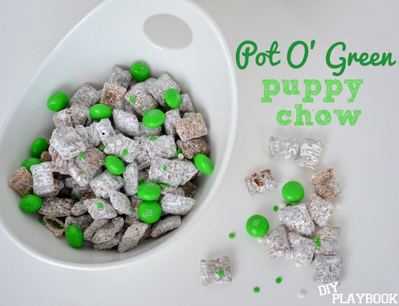Puppy Chow is a great snack any time of year, but festive St. Patrick's Day puppy chow is even better!