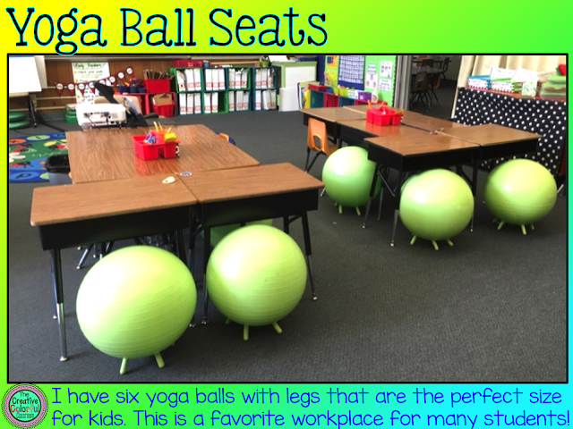 Yoga Ball Seats: I have six yoga balls with legs that are the perfect size for kids. This is a favorite workplace for many students!