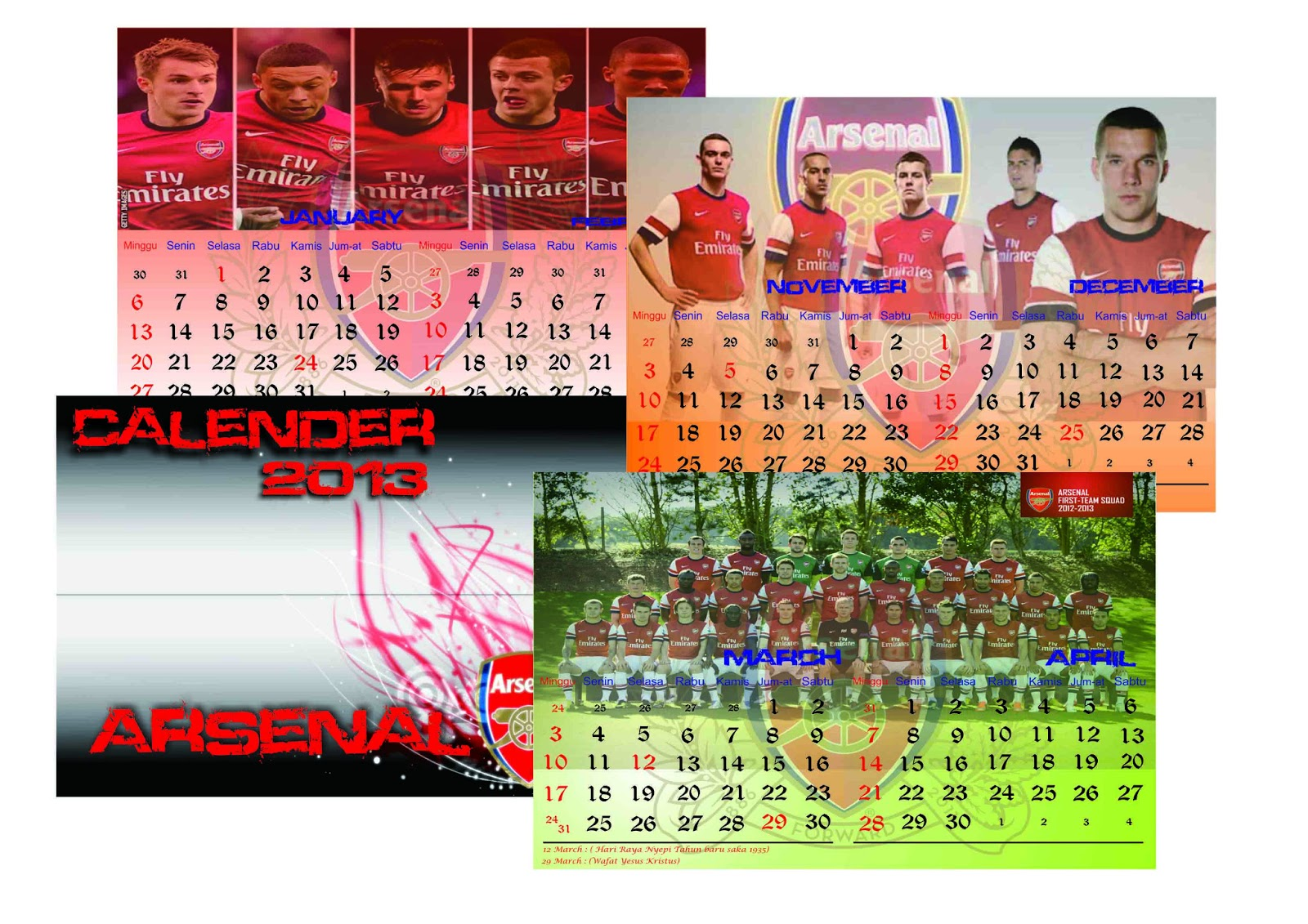 Creative Idea Graphic: Desain Kalender dengan model gambar ...