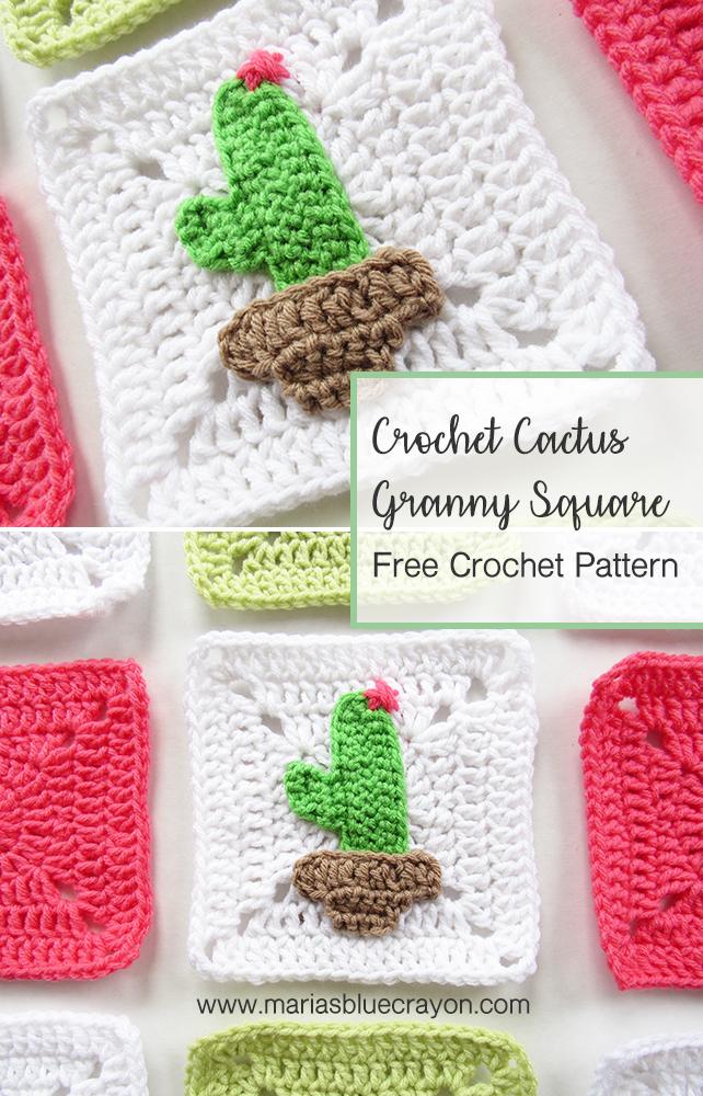Crochet Cactus Granny Square - Free Pattern - Maria\'s Blue Crayon
