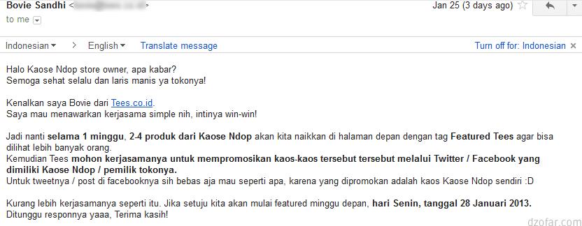 Email dari Bovie Tees