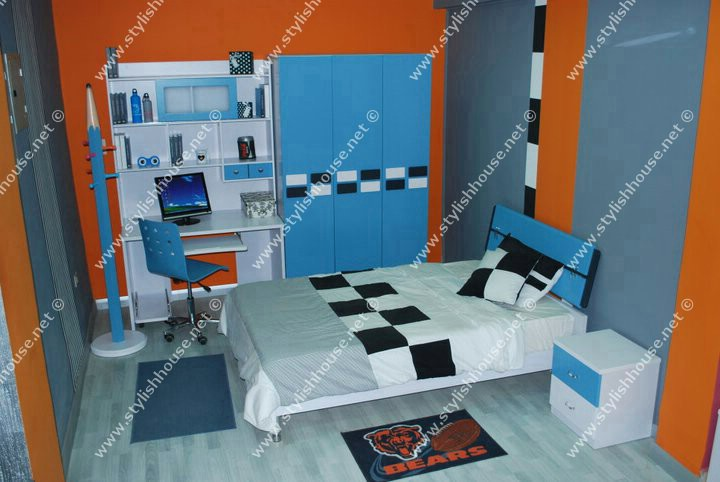 Modern blue children bedroom furniture set