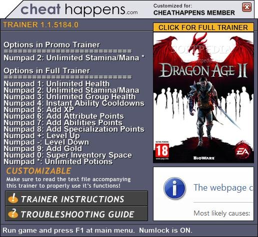 Dragon Age 2 Trainer