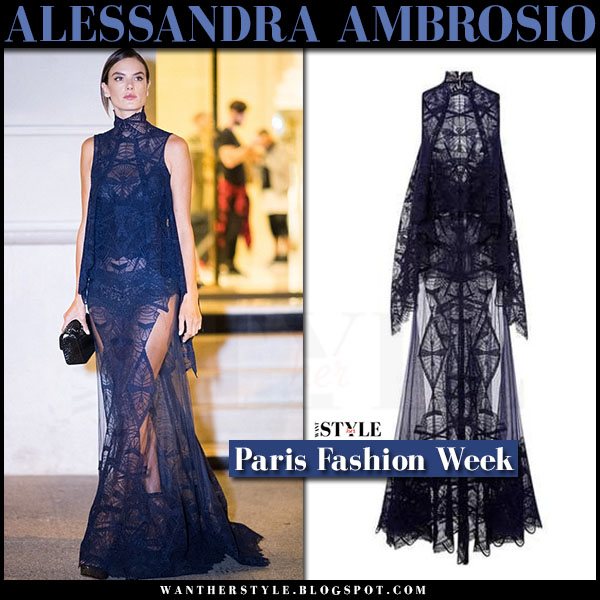 Alessandra Ambrosio in blue lace sheer gown jonathan simkhai what she wore paris fashion week