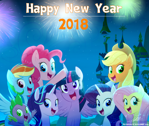 .:HAPPY NEW YEAR 2018:. by mlp and eqg