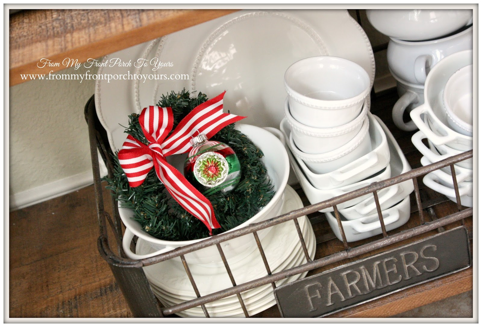 Christmas Vignette-French Farmhouse Christmas Kitchen- From My Front Porch To Yours