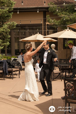 a photograph of a bride and groom dancing at their wedding reception in Colorado