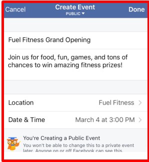 how to set up a public event on facebook