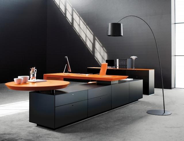 best buy black orange modern office Bureau furniture sets for sale