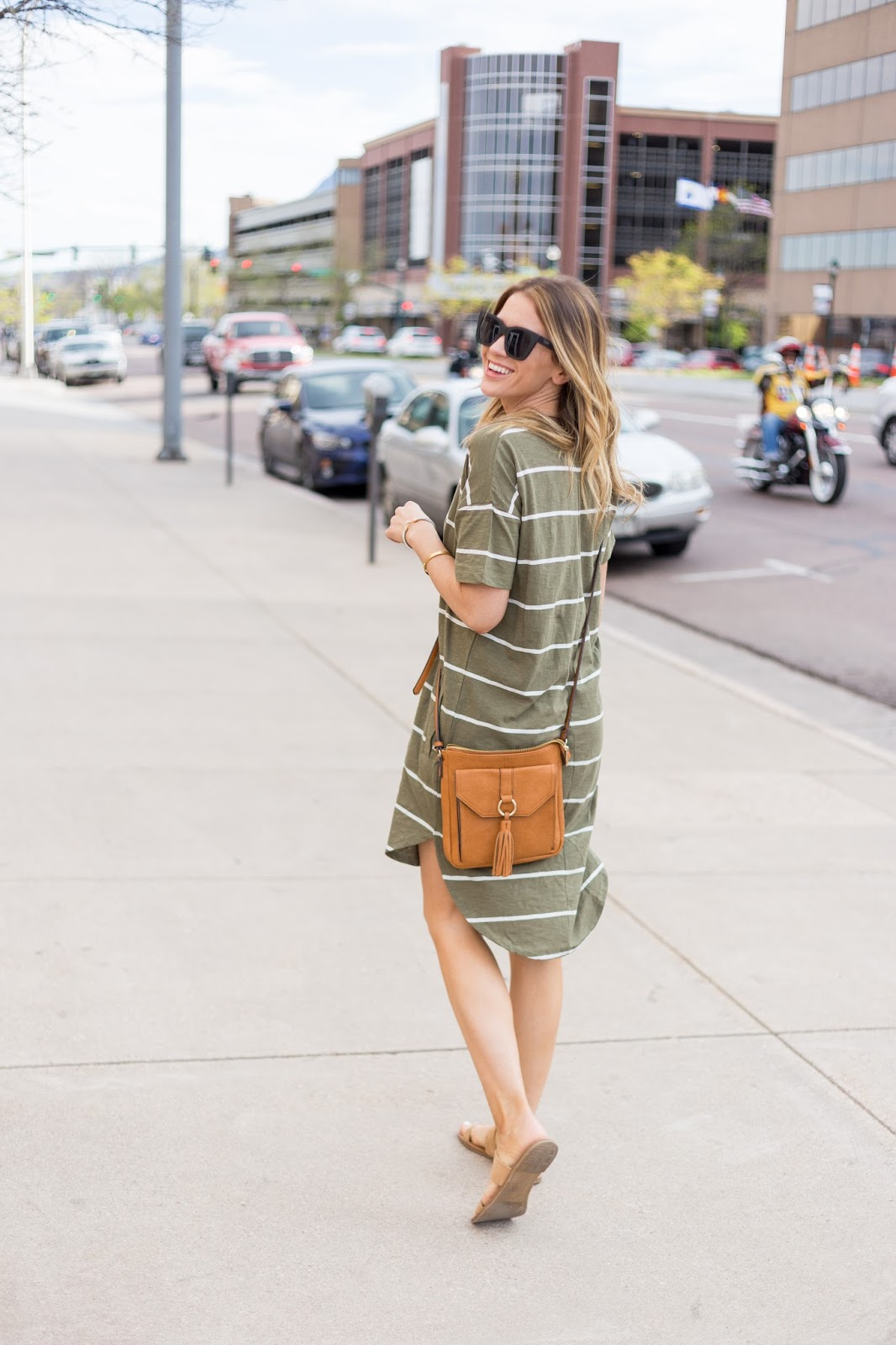 Striped Shirt Dress With Crossbody Bag