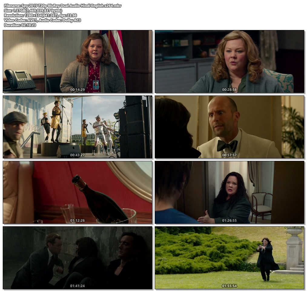 Spy 2015 720p BluRay Dual Audio Hindi English x264 | 480p 300MB | 100MB HEVC Screenshot