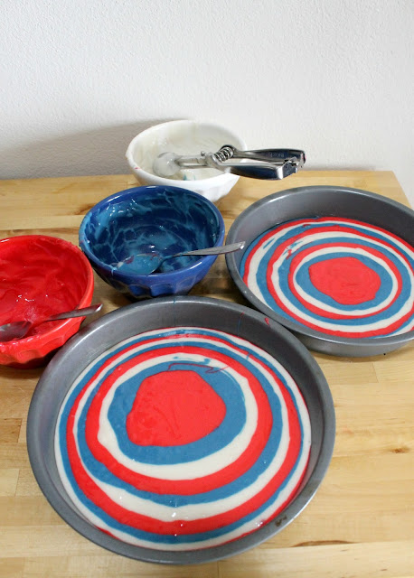 how to make a 4th of July Tie Dye Cake!