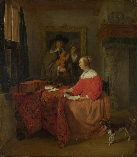 Gabriel Metsu - Una mujer sentada y un hombre tocando el violín - c. 1658