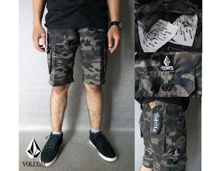 Celana Cargo Pendek Pria Motif Army