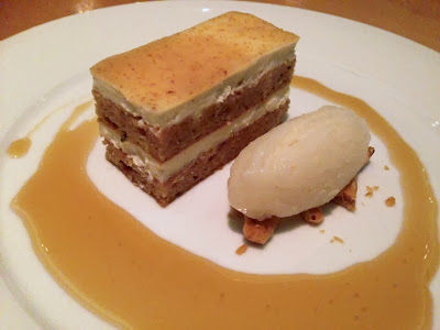 Hazelnut-brown butter cake with goat cheese, pear sorbet, hazelnut ...