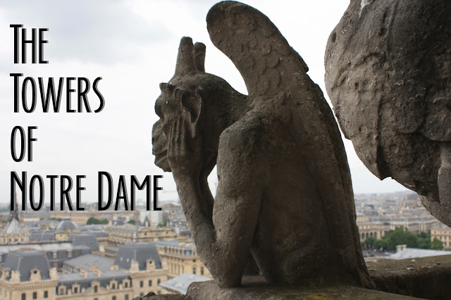Title Card for the Towers of Notre Dame with Gargoyle looking over Paris