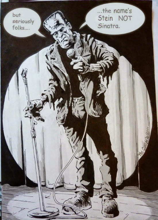 Frankenstein Monster comic joke stage fright black and white ink