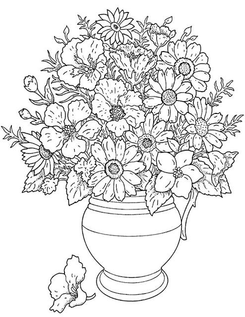 Dessins et coloriages page de coloriage grand format imprimer un vase avec fleurs - Coloriage grand format ...