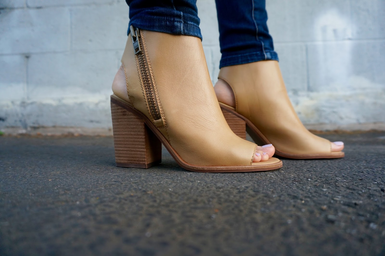 Fall Transition Peep Toe Booties and Peplum Cami - www.greysuede.com