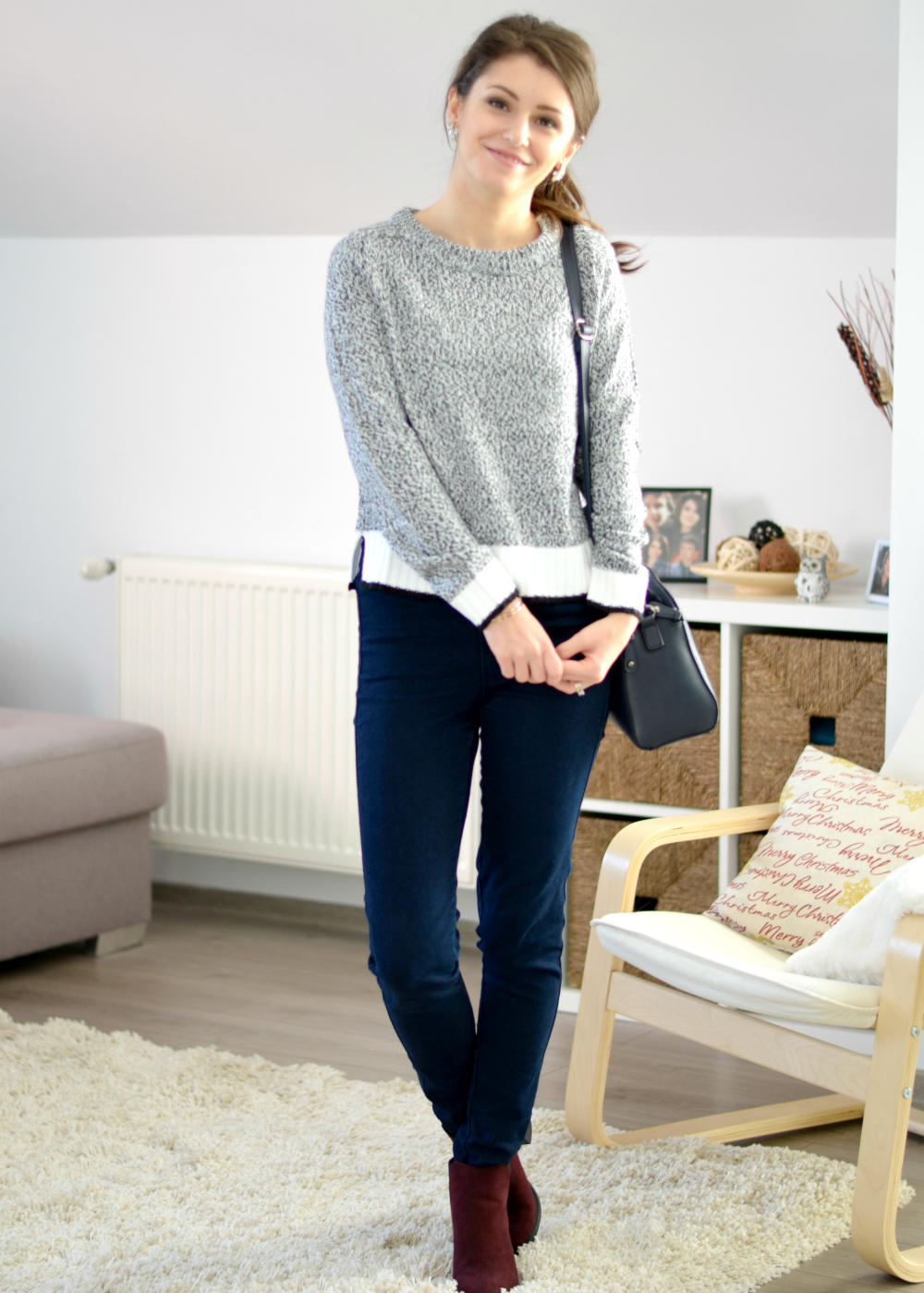 grey H&M sweater outfit with jeans and burgundy ankle boots