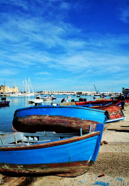 barche, porto, Bari, mare, cielo, nuvole