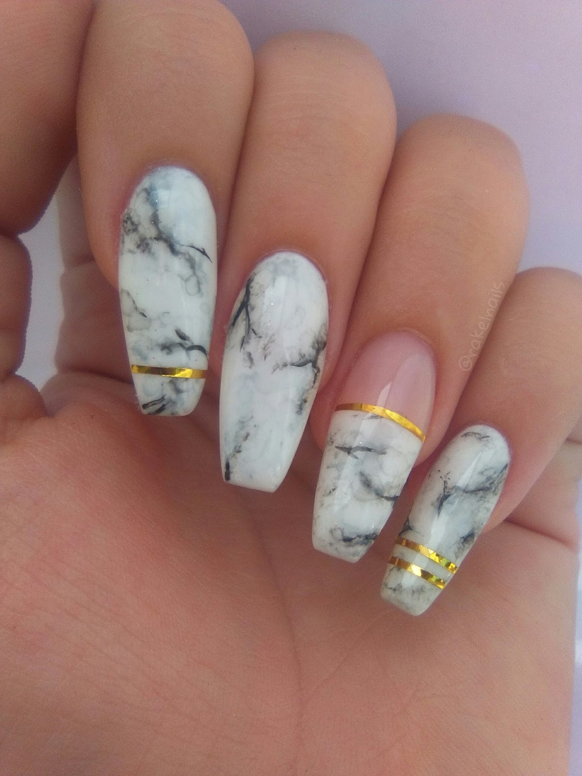 Rakel nails ❁: Uñas de gel coffin + nail art efecto mármol ...