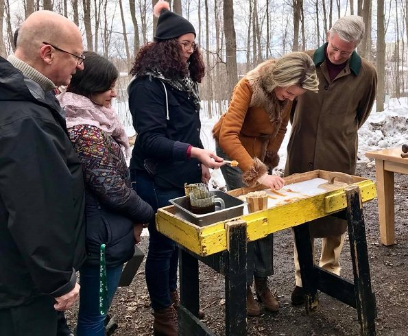 King Philippe and Queen Mathilde of Belgium visited a maple syrup sugar shack during their state visit to Canada