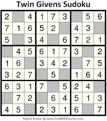 Twin Givens Sudoku (Fun With Sudoku #155) Answer