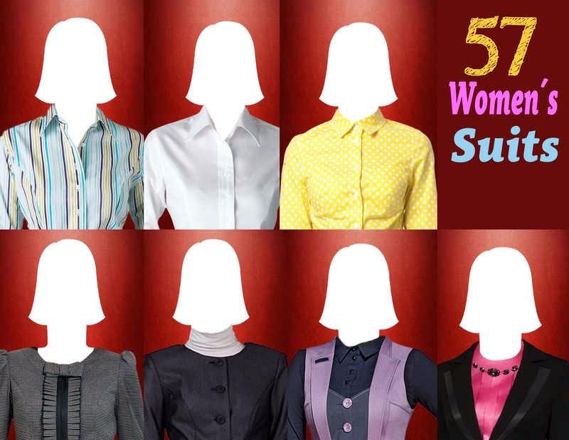 57 plantillas para hacer fotomontajes con trajes formales de mujeres