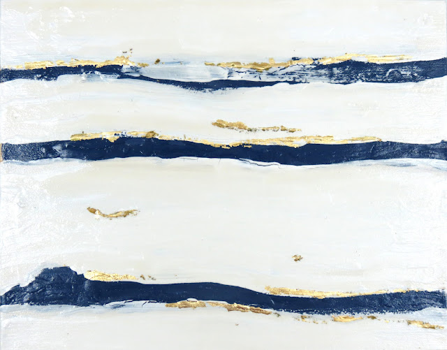 navy white indigo painting abstract interiors
