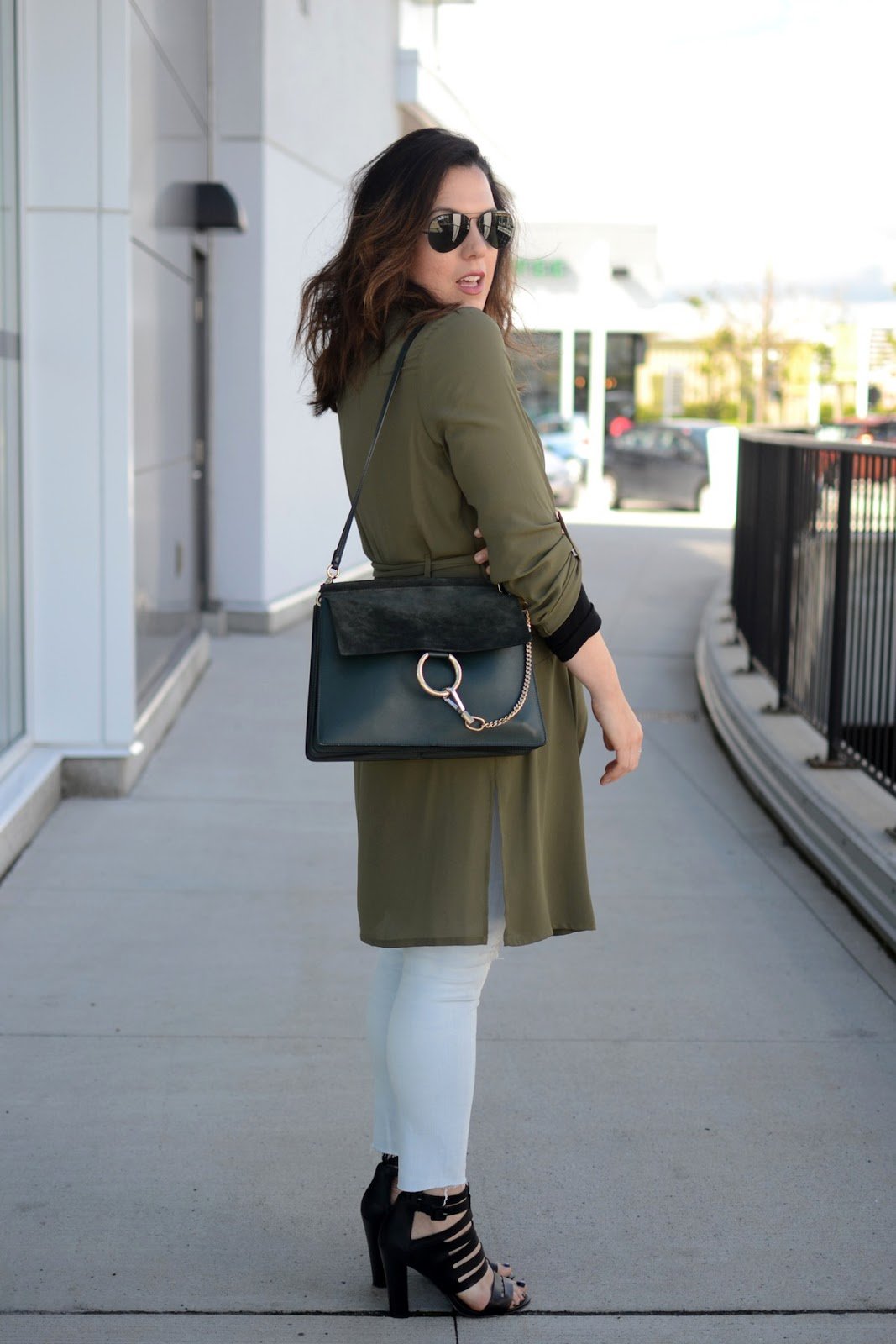 Le Chateau olive trench coat outfit green chloe faye medium bag blogger