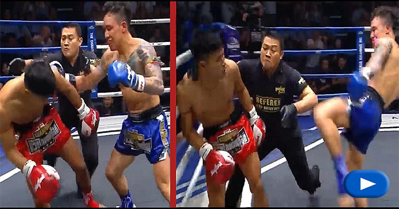 Muay Thai - Νοκ Άουτ διαιτητής και αντίπαλος