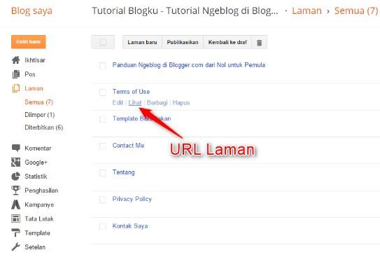 menu laman di blogger