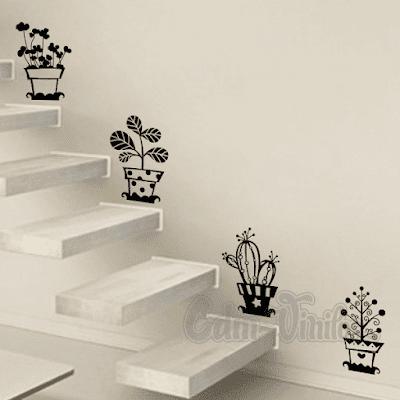 vinilo decorativo macetas cactus plantas plantitas decoracion escaleras