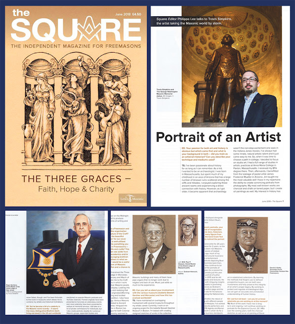 The Square. Lewis Masonic magazine. England. Cover Art and Interview with Travis Simpkins