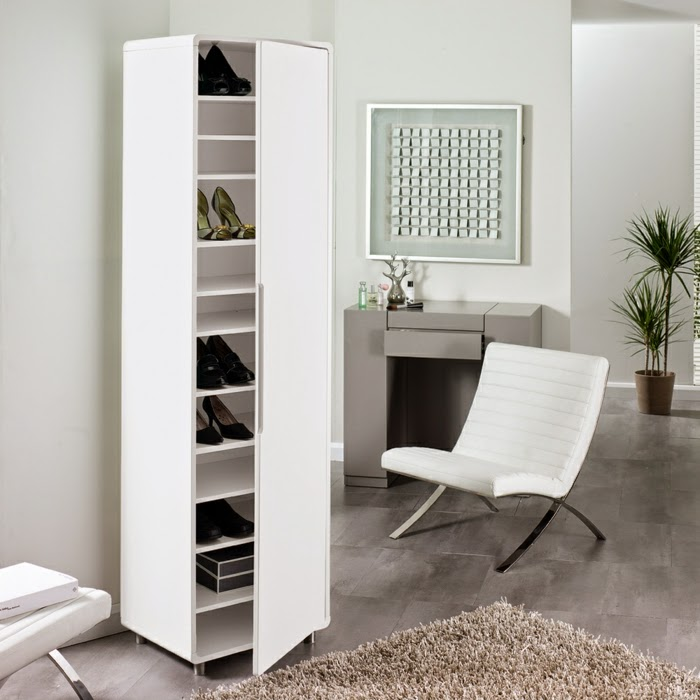 stylish gloss white shoe storage cabinet ideas for modern hallway
