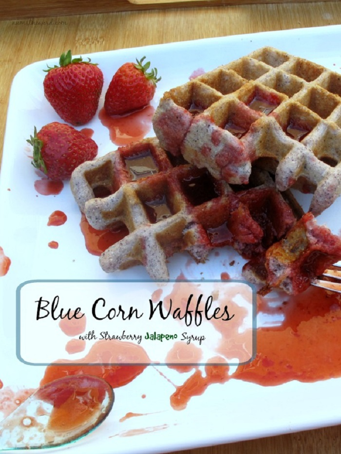 Blue Corn Waffles With Strawberry Jalapeno Syrup
