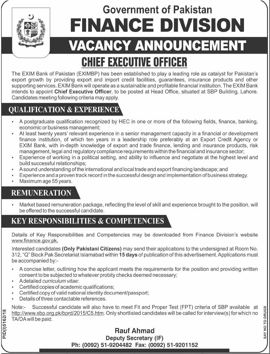 Finance Division Latest Govt Vacancy May 2019