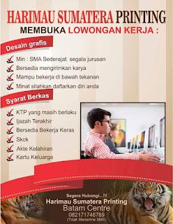 Lowongan Kerja PT. Harimau Sumatra Printing