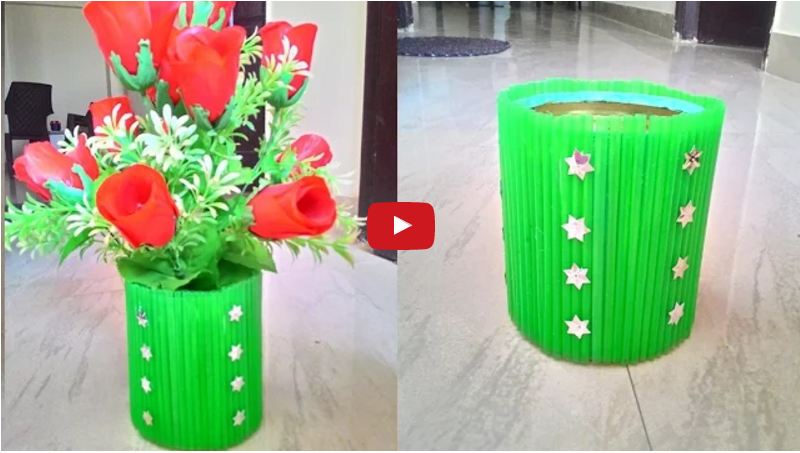 Waste material flower pot crazzy craft for Flower pot made by waste material