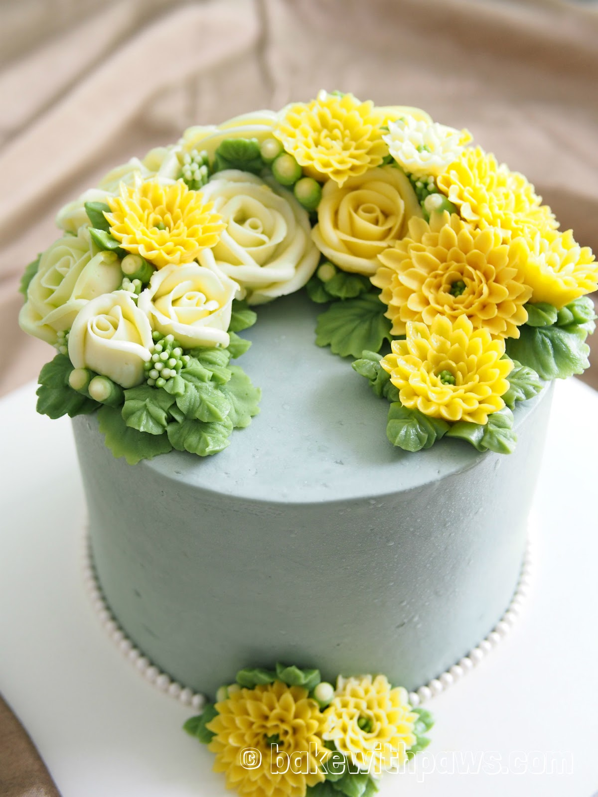 Korean style buttercream flowers cake 12 bake with paws right cake base colour to match with yellow and white flowers luckily it turn out okay the cake is a two layered 6 inch pandan cotton cake icing with mightylinksfo