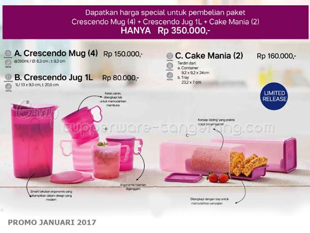 Paket Crescendo Mug Jug Cake Mania Promo Tupperware Januari 2017