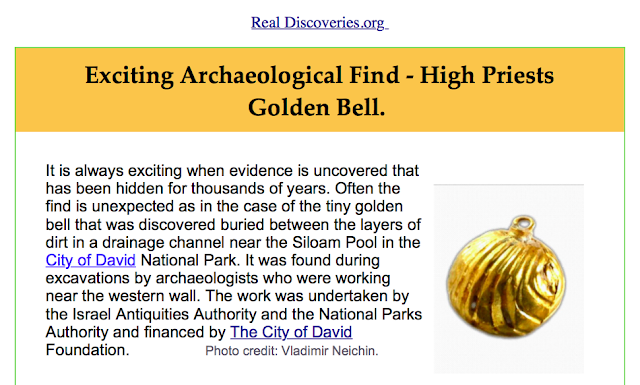 Exciting Archaeological Find - High Priests Golden Bell. http://wwwrealdiscoveriesorg-simon.blogspot.co.uk