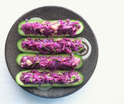 Red Cabbage Slaw in Cucumber Boats