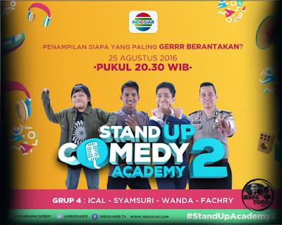 Stand Up Comedy Academy ( SUCA ) 2, 16 Besar, Grup 4 : Ical, Syamsuri, Wanda, Fachry.