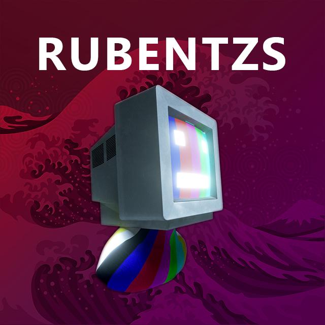 Imagen con el logotipo de Rubentzs que consiste en un televisor con cara y ojos