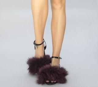 sandale cu puf tendinte 2017 de culoare bordo