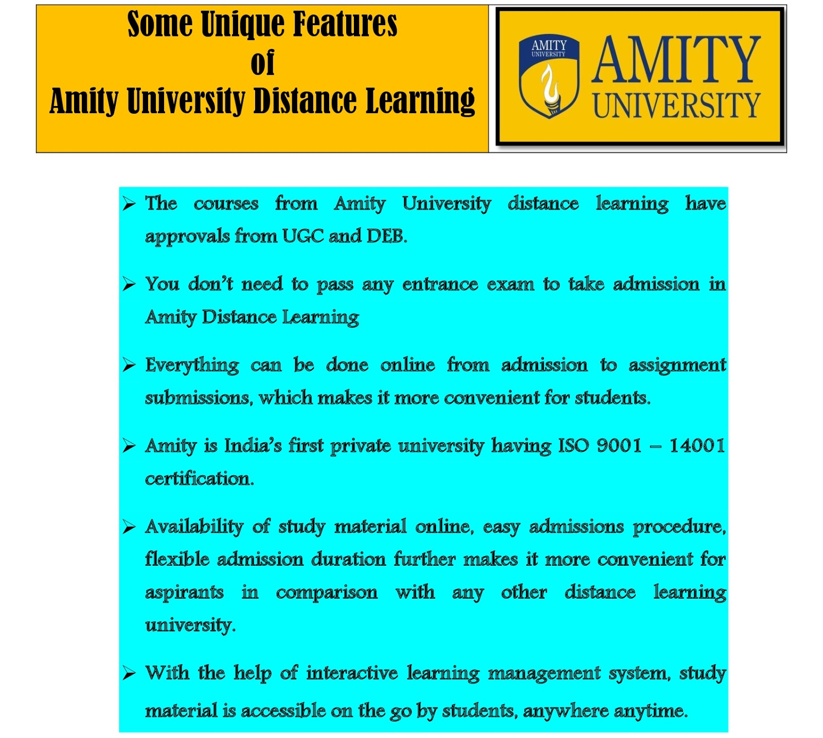 Amity University Distance Learning - Courses List - Distance