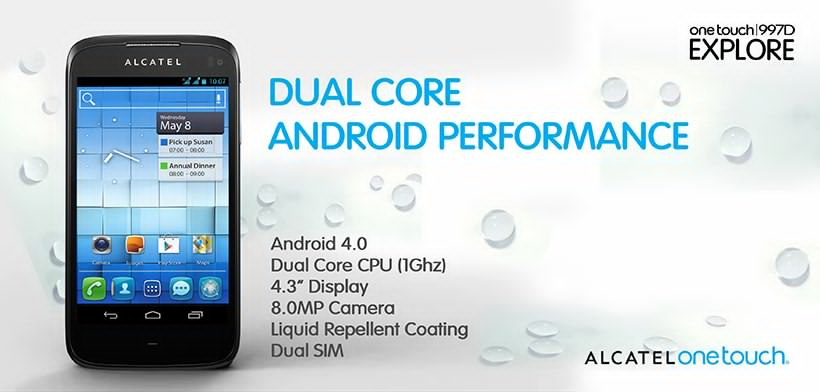 Alcatel One Touch 997D Explore The Specs and Features P2i Liquid