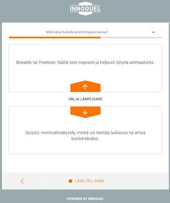 Ruudunkaappauskuvassa näkyy Innoduelin valikko, mistä käyttäjä voi valita toisen kahdesta vaihtoehdosta tai lisätä oman ehdotuksen.